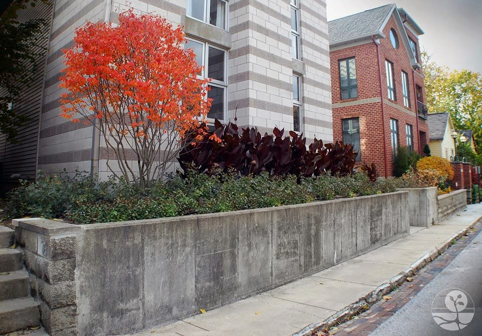 This retaining wall is a functional part of this downtown Indianapolis urban landscape design.