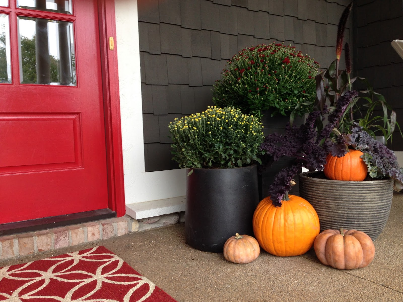 fall containers with pumpkins.JPG