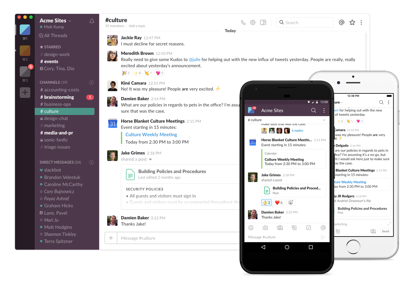 Slack works across desktop and mobile devices seamlessly.  Images used with permission from Slack