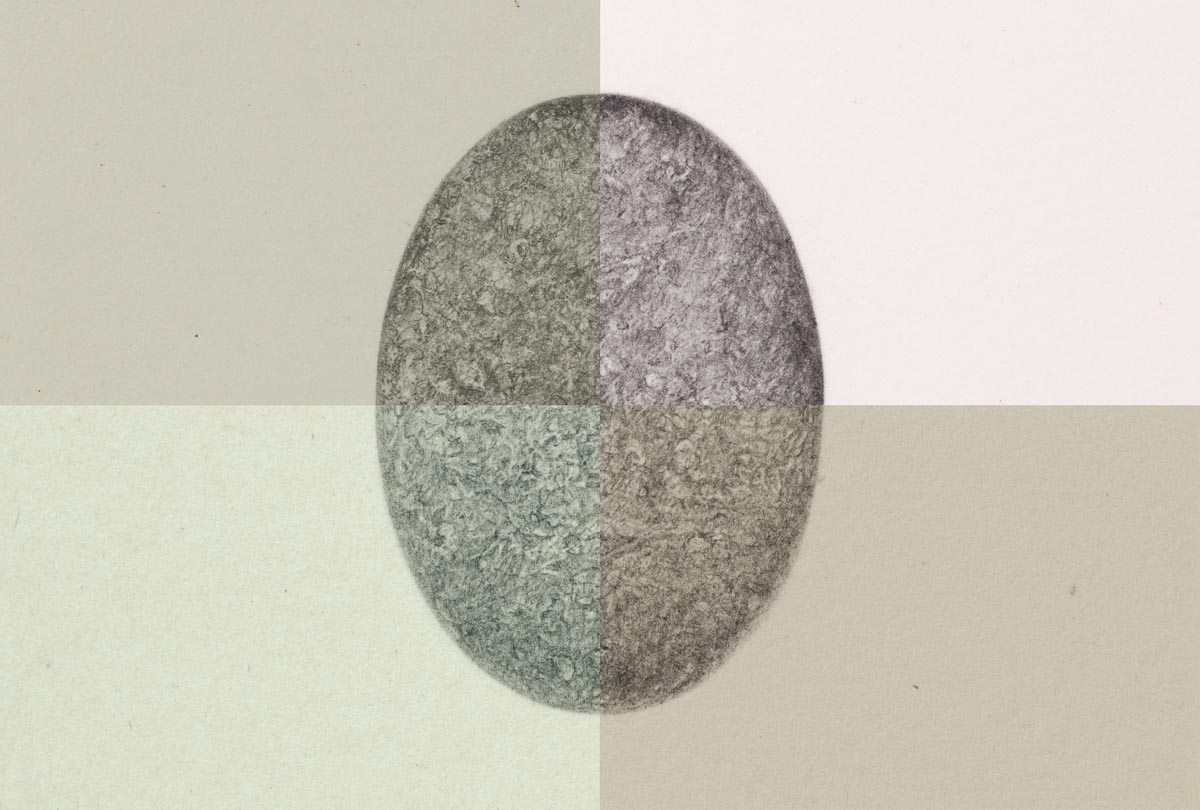 A digital compilation of four drawings of the same oval stone in graphite on four different papers.