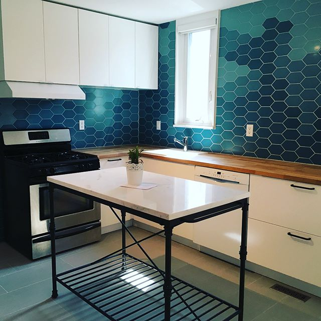 Finished up the latest project - my favourite thus far! Thanks @hannotteinteriors it's been a slice! . . . #kitchenmakeover #customtilework #ikeakitchencabinets #butcherblockcountertop #thathandygal