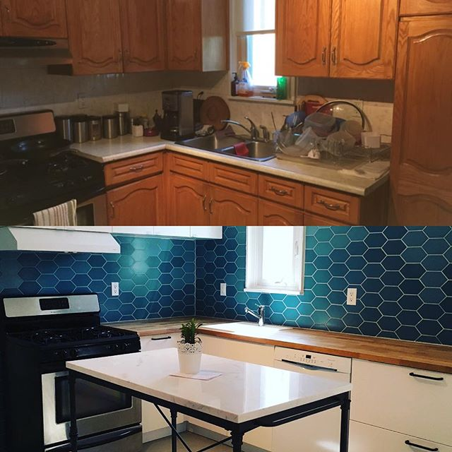 Before and after. . . . #beforeandafter #kitchenmakeover #ikeakitchen #customtilework #thathandygal