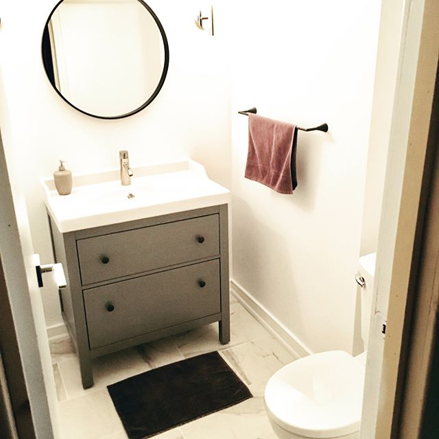 Before and after basement powder room. Great working with @melaniekushnerdesign . . . #thatwasfun #bathroommakeover #exposedfootingsarenotcool #thathandygal