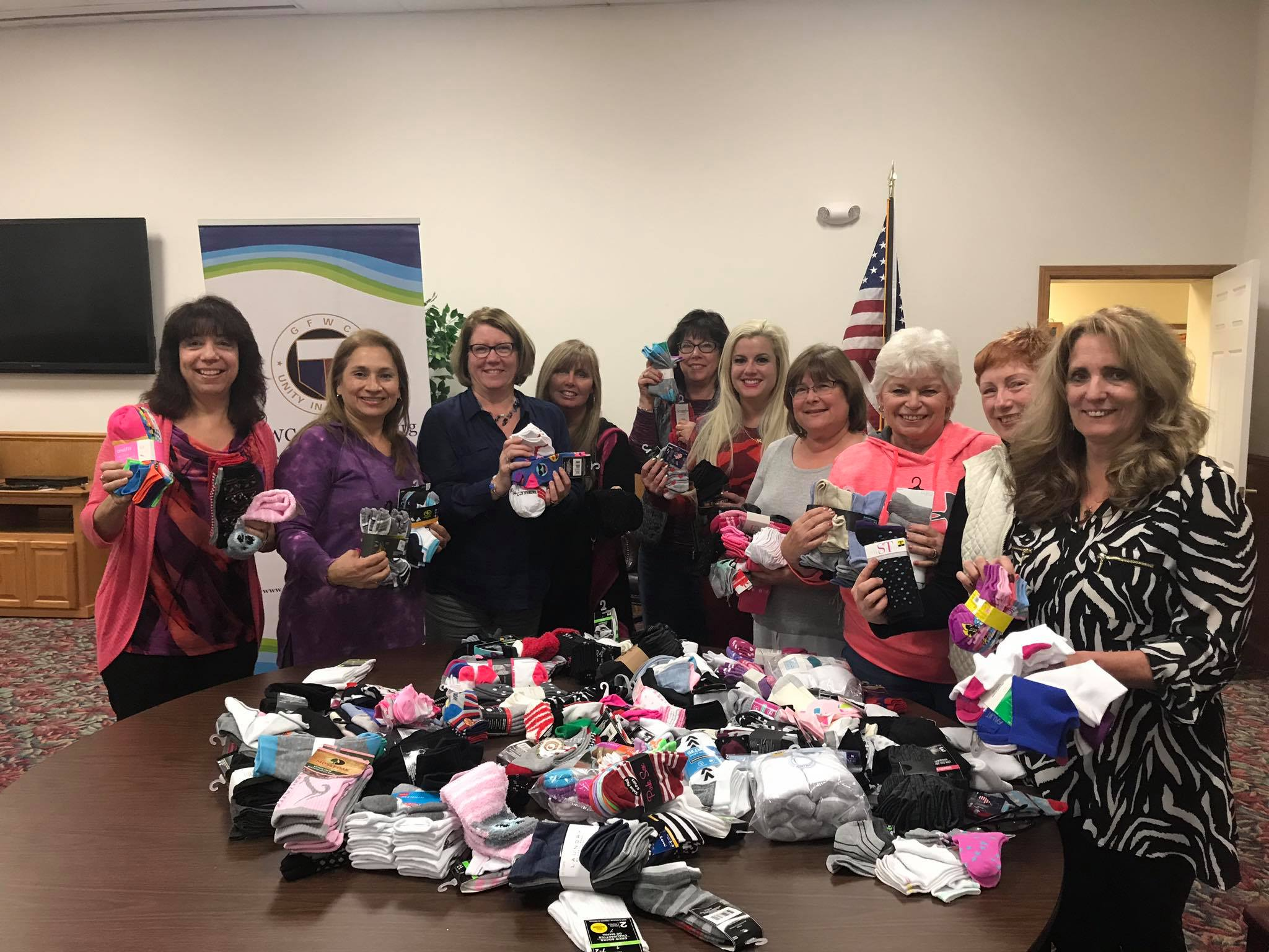 September-November 2018: Step Away from Abuse Sock Collection the Club donated to Family Services of Blair County.