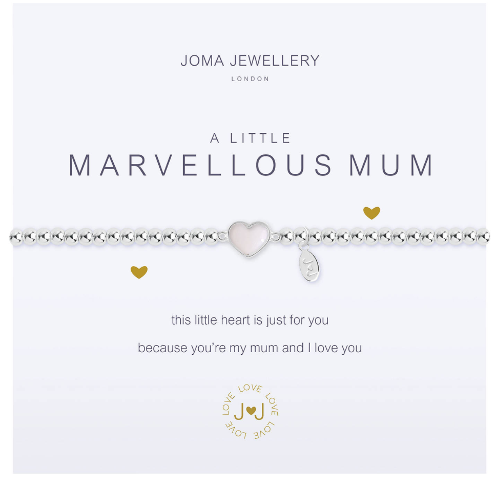 Joma Jewellery Marvellous Mum Pearl Heart Charm Bracelet, Silver - £14.50