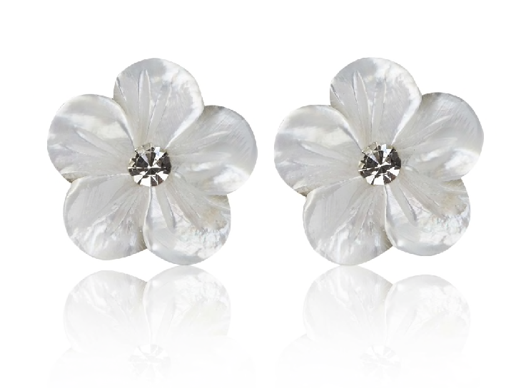 Mother Of Pearl Flower Earrings - £12.00