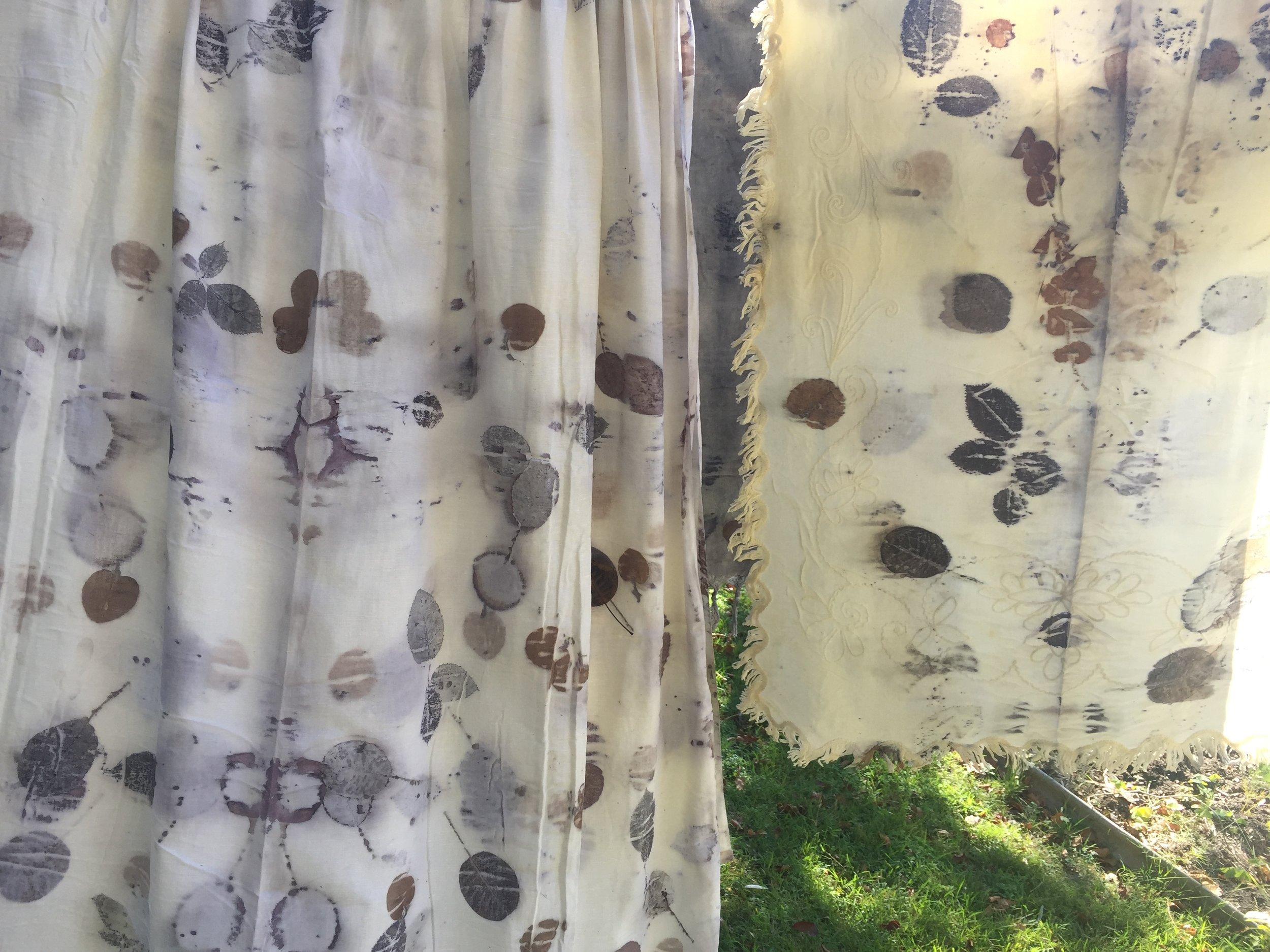 Vintage fabric eco-printed