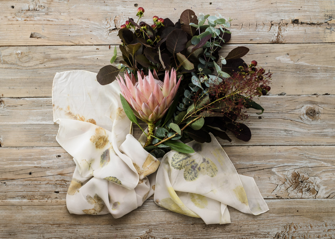 BOUQUET SCARF - Tania often makes commissioned scarves using flowers given to her from wedding bouquets, grandmother's rose gardens or funeral flowers... to create tangible memories people can wear. Get in touch if you are interested