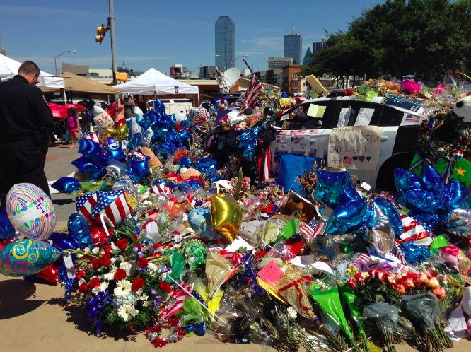 On July 7, 2016, in Dallas, Texas, during what was supposed to be a peaceful protest over the fatal police shootings of black men in Minnesota and Louisiana, gunfire erupted. A lone sniper killed five Dallas police officers and wounded eleven others. Shortly after, a makeshift memorial began to emerge at a downtown police station.