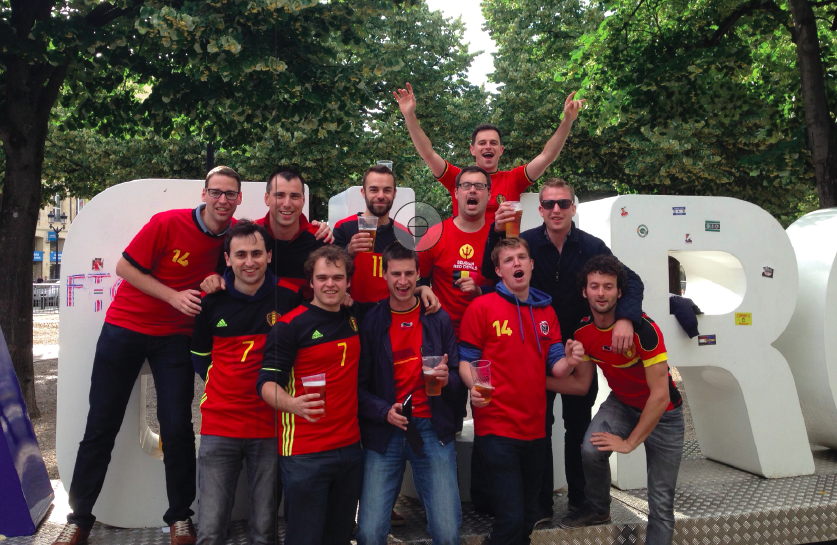 """Eleven West-Flemish Belgian """"Boys in Red"""" from the Westhoek region left family and work obligations to cheer on their Belgian national team in Bordeaux, France."""