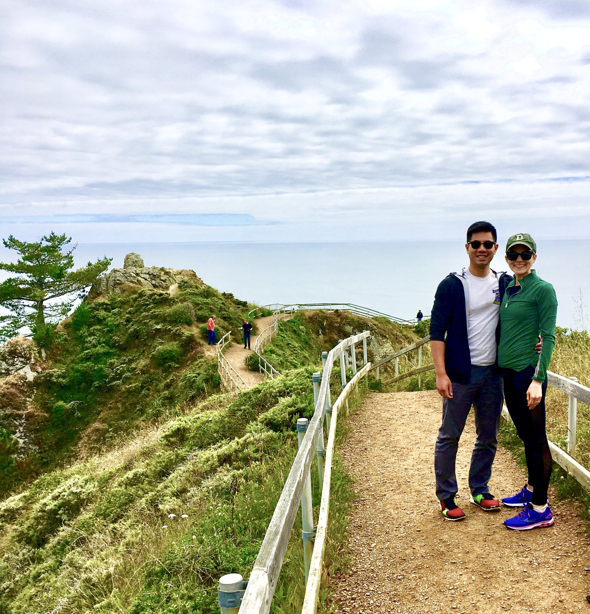 My husband and I at Muir Beach in northern California a few weeks ago. I'm sporting my EltaMD sunscreen, EcoLips SPF lip balm, Kastel UPF 30 pullover, UPF pants, sunglasses, and a baseball hat.