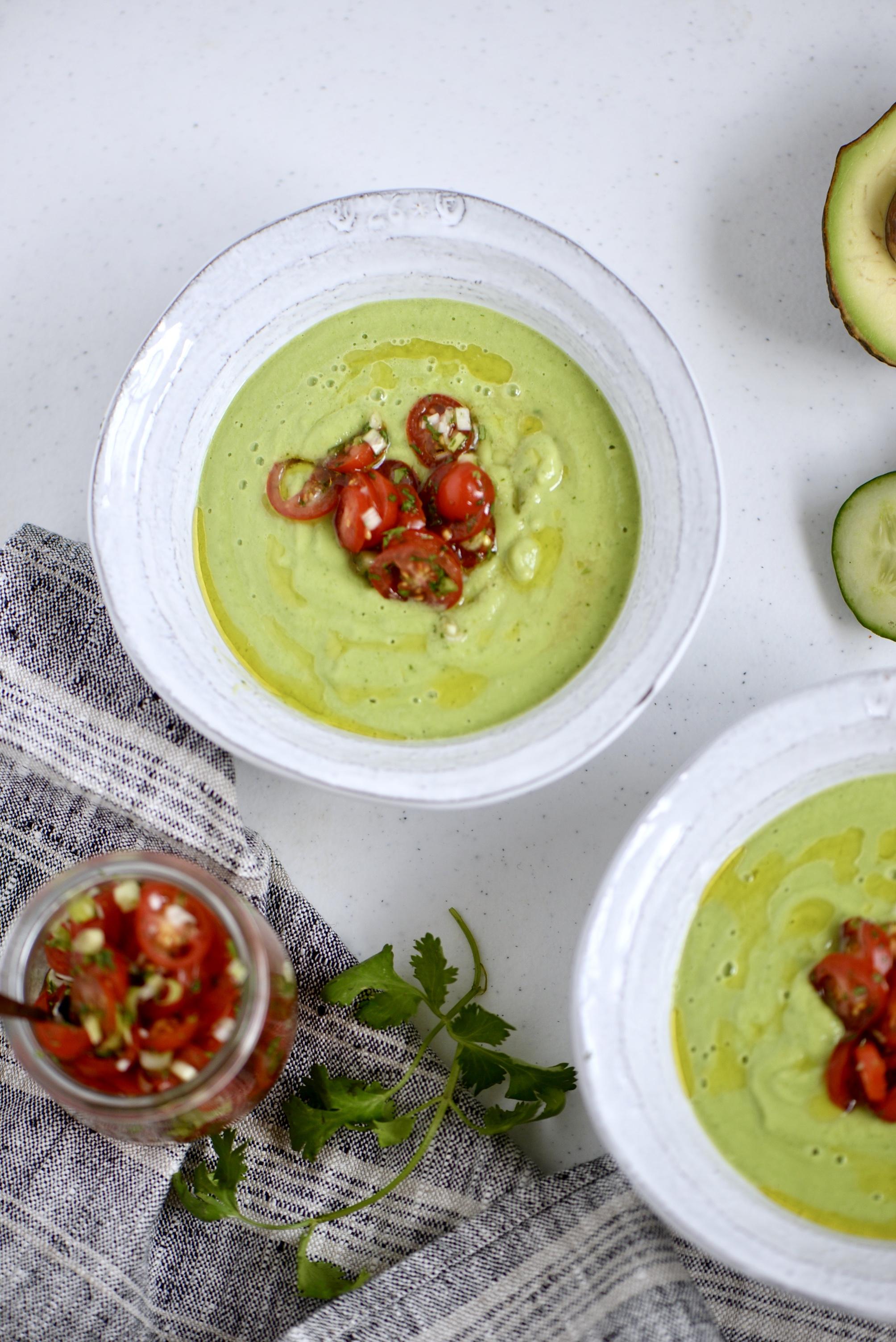 Cucumber Avocado Gazpacho with Tomato Relish - Click here for recipe