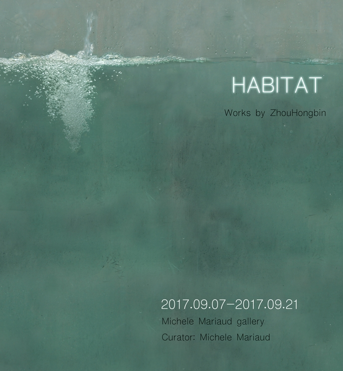 "HABITAT - Photography and Sculpture by Zhou HongbinOpening Reception: September 7Exhibition: September 7 - 21, 2017""I choose to be represented by familiar pets like my own bunny to create a habitat, similar to a personal garden, utopian and self-centered, where different moments of my own life are fixed and combined in the same picture"" The artist has said she intends to create ""lovely and pure thoughts and avoid the conflict of reality."""