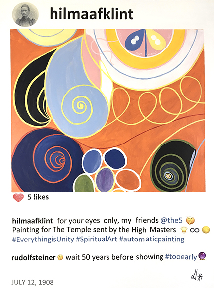 - #story.behind.the.artIn 1907, the Swedish artist Hilma Af Klint, member of the Royal Academy, created the first abstract paintings of modern art history, in complete secret, and years before Kandinsky or Mondrian.Hilma Af Klint practiced spiritism with 4 other women