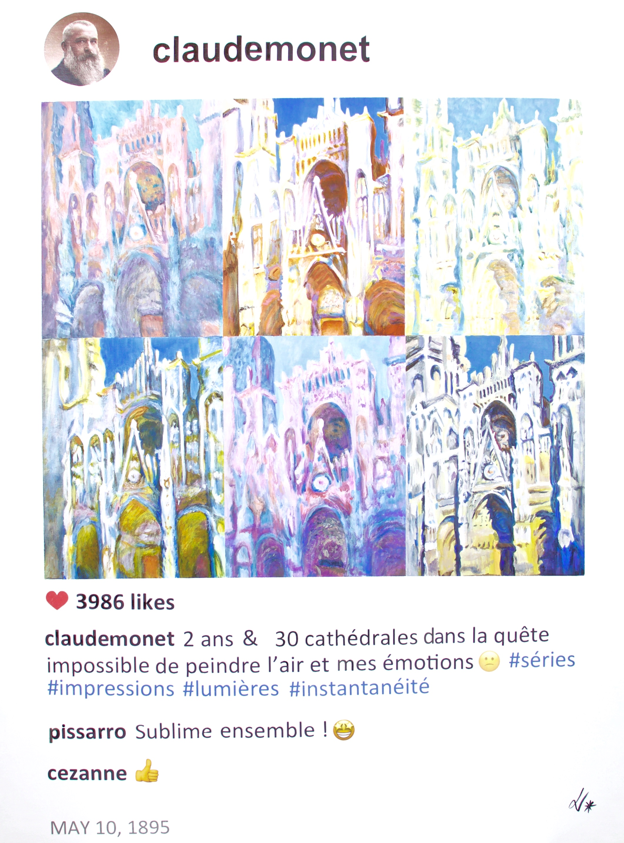 - #story.behind.the.artBetween 1892 and 94, Claude Monet painted a series of 30 cathedrals of Rouen.He had ups and downs with this series and sometimes considered abandoning it because he did