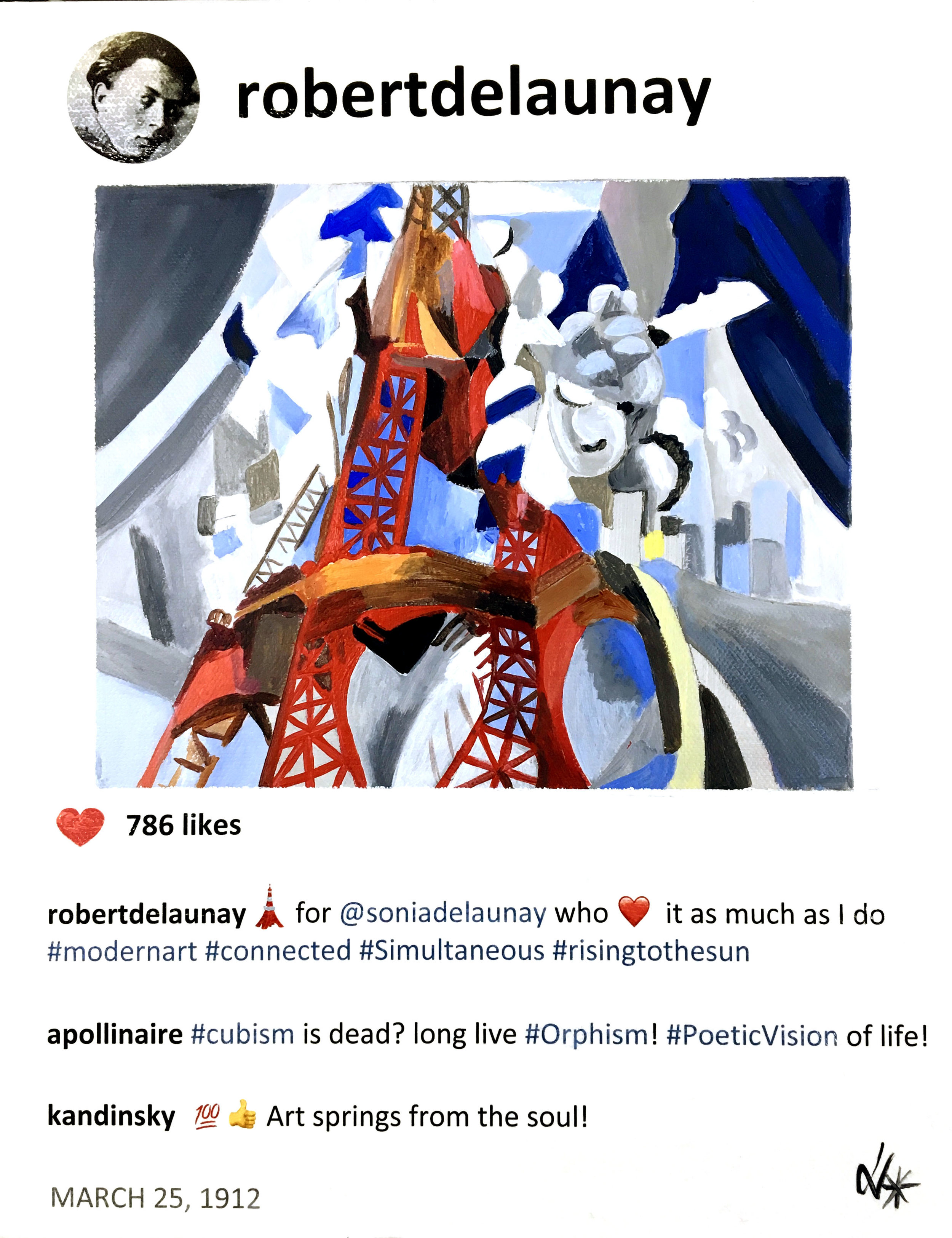 """Robert and The Red Eiffel Tower - #story.behind.the.artThe Eiffel Tower representing modernism inspired Robert Delaunay and he painted a series between 1909 and 1928. The first one was a celebration of his engagement with Sonia who loved the tower too. The Red Eiffel tower was painted in 1911/1912. 1912 was a turning point for Robert: in March he had his first major exhibition in Paris with works from his early Impressionist works to his Cubist Eiffel Tower paintings. It was commented that he broke away from cubism through his use of color rejected by other cubist artists.Art Critic Guillaume Apollinaire argued: 'If Cubism is dead, long live Orphism'' and later that the avant garde painters of that time 'have achieved a more internalized, more popular and more poetic vision of the universe and of life'.In 1911 Kandisky had invited Robert to join the The Blue Rider, a Munich-based group of artists and his comment is based on his quote """"That is beautiful which is produced by the inner need, which springs from the soul."""" Sources: The New Art of Color. 1978. Arthur A. Cohen. The Diaries of Paul Klee, 1964Robert and The Red Eiffel Tower, 2019, Acrylic on canvas, 14x11x1.5 in."""