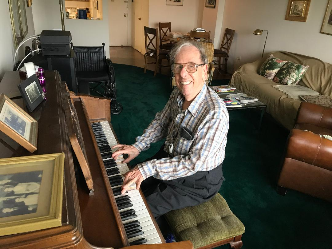 """ I play the piano,"" says the pictured gentleman. "" I'm not very good but I play easy music. Some of the sick people in my building, who never get out and have few or no visitors, love to hear my playing. So I think I am doing a good deed."""