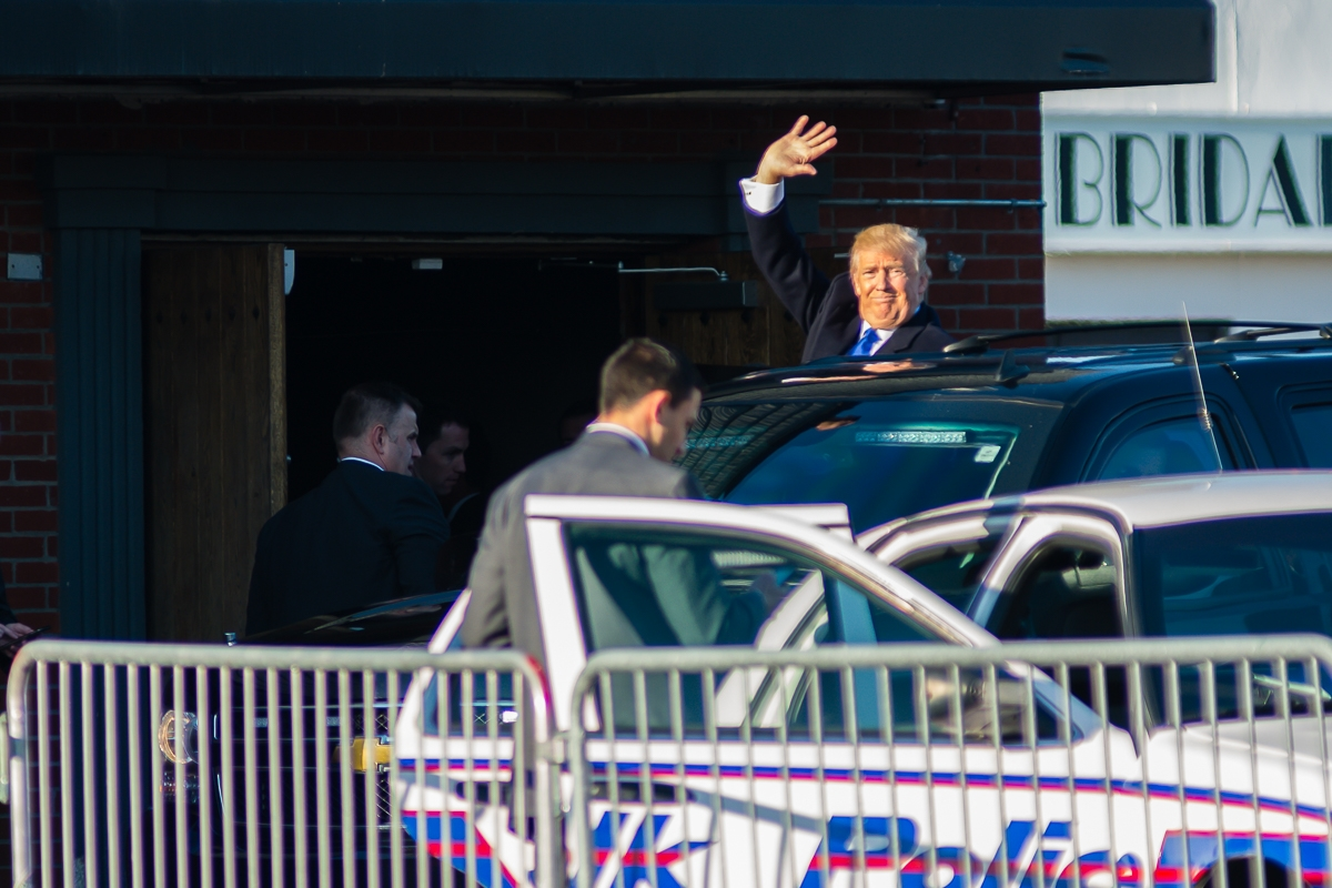 Donald Trump exiting the Emporium in Patchogue on April 14, 2016 after a fundraiser hosted by the Suffolk County GOP. Joseph Ryder / WSHU Public Radio