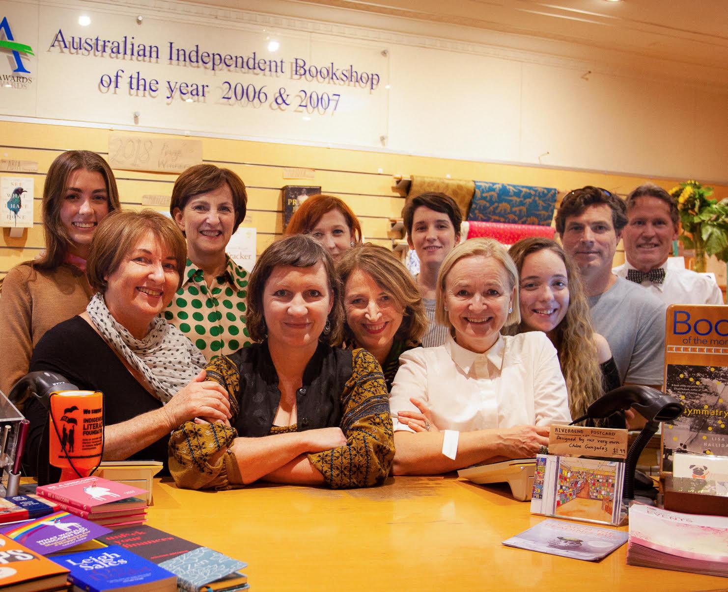 The wonderful Riverbend Books team, circa early 2018.