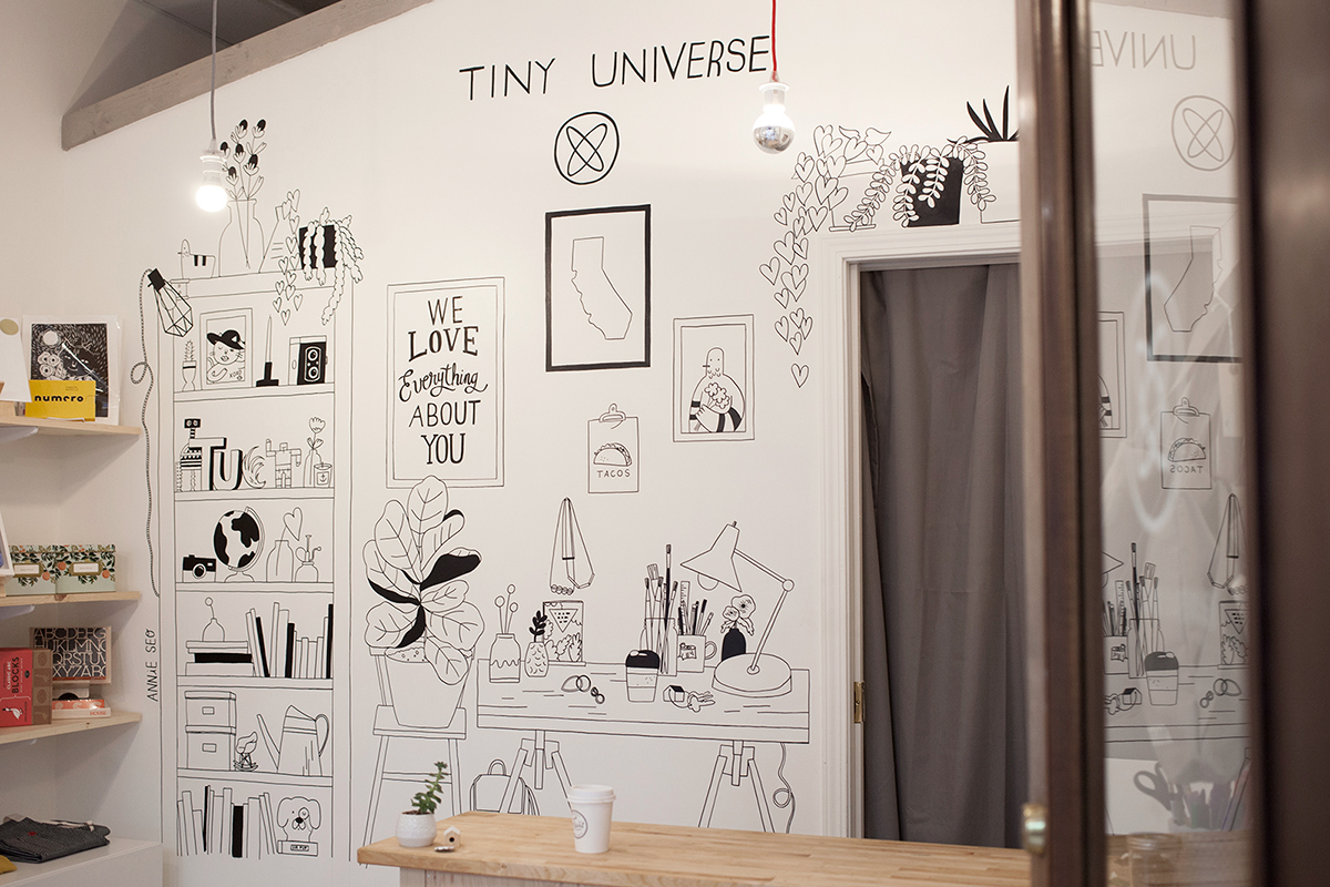 Illustrated wall mural for micro-shop  Tiny Universe , 2014.