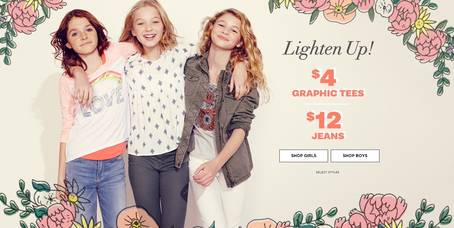 Illustrated decorative frames and banners for Aeropostale's children's line, P.S. Kids, that were displayed on their home page, 2016.
