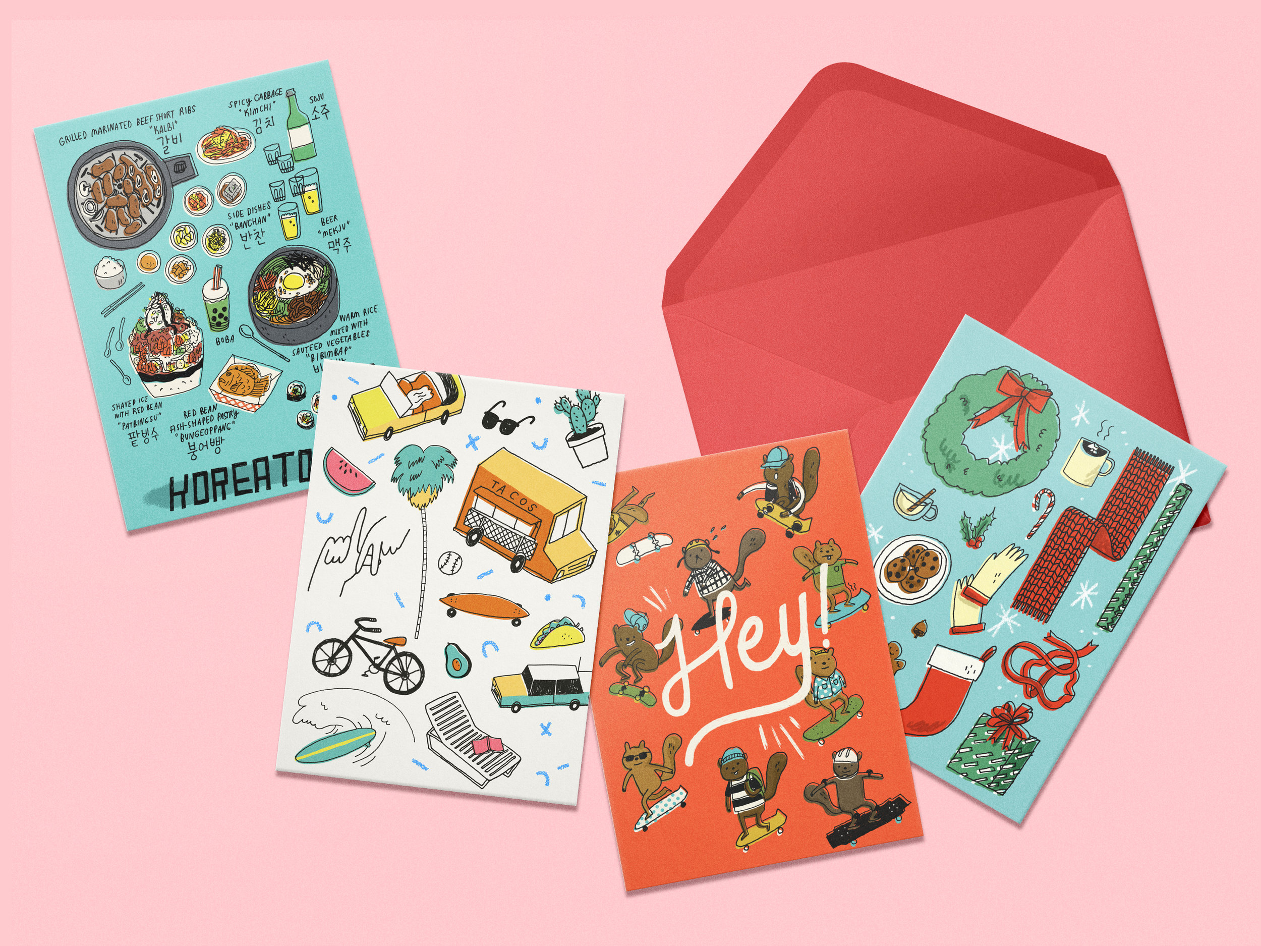 Illustrated range of greeting cards and mug design for downtown LA's shop,  Poketo . Items sold for retail on shop's shelves and store website,2014.
