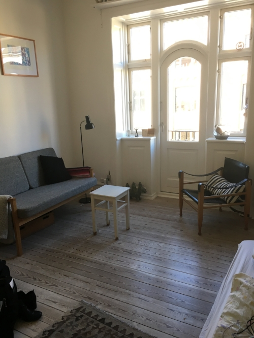 My stay in Frederiksberg. Minimalist Scandi furnishings, lots of light, and oiled pine floors with just the right amount of creek to feel cozy.