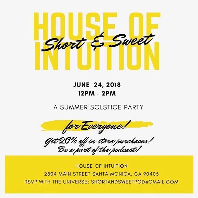 Come join us and the #universe at our favorite store @houseofintuition this Sunday! There will be a great in-store discount, you can be on the #podcast, and there's a fun festival happening in Santa Monica! RSVP to our email! #tiptuesday
