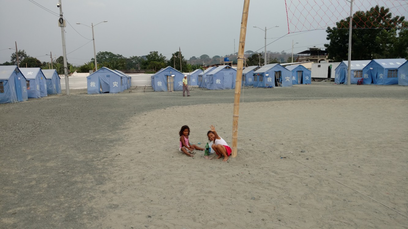 Inside the shelter. There are over 40 families still living in tents without a home yet.