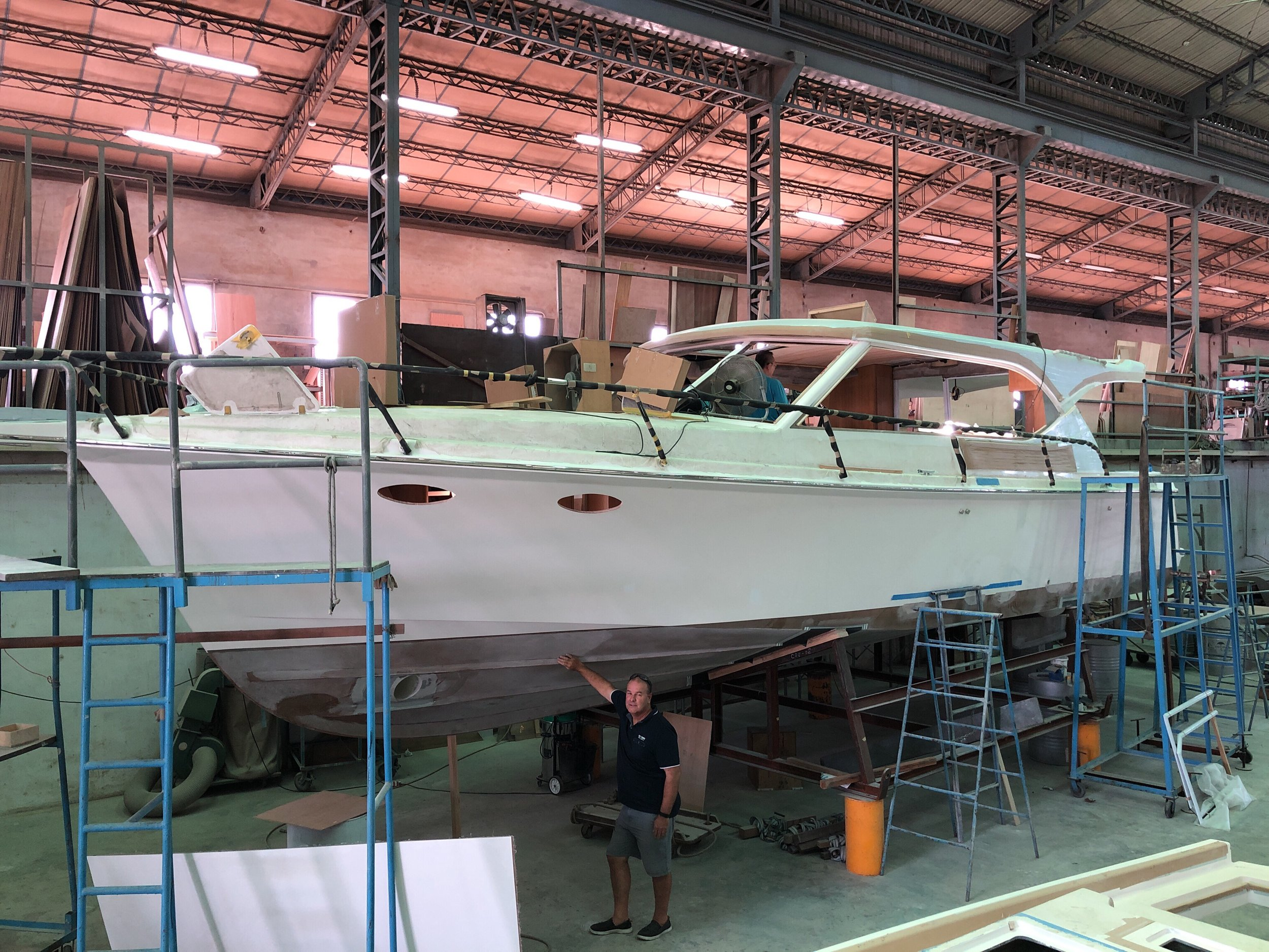 Dean inspecting a Salthouse Corsair under construction