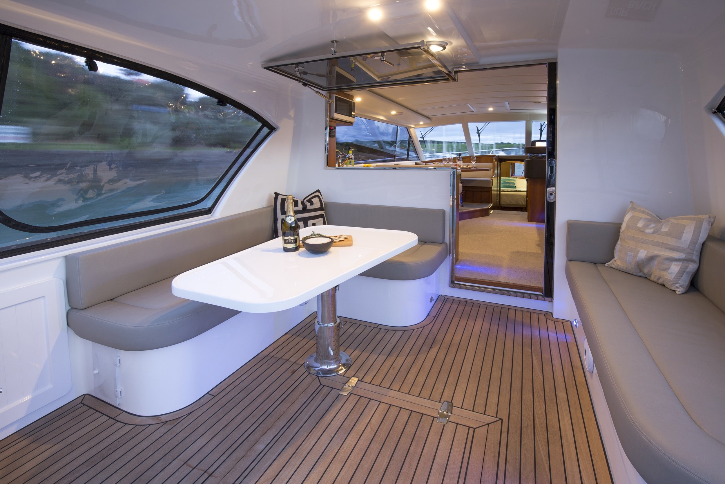 On-water relaxation at it's best - This superb motor yacht design includes an al fresco dining area, with twin cockpit sun loungers that will make you the envy of the bay.- everything you need for on-water relaxation -