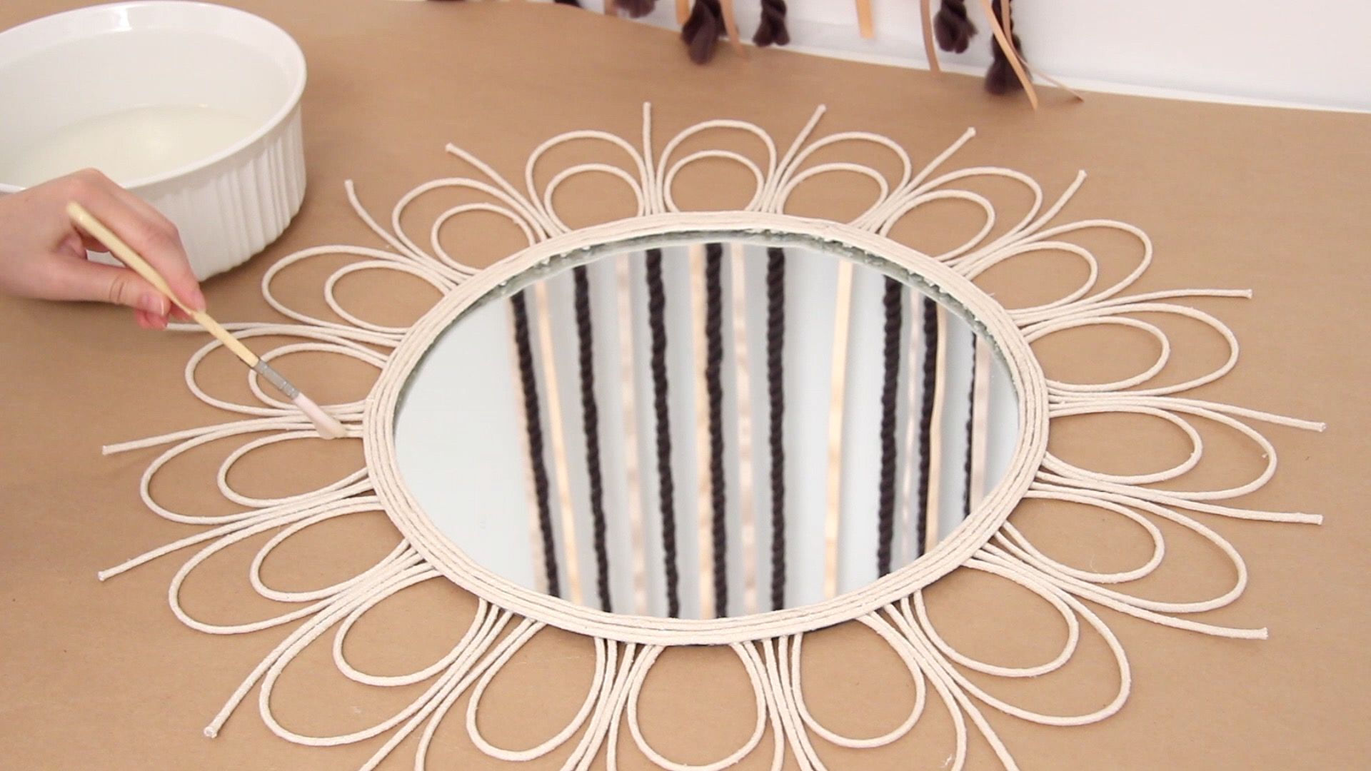 DIY Rattan Rope Mirror