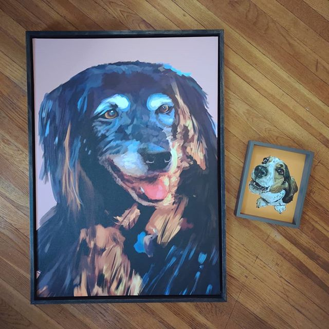 """Delivered two paintings today! Olivia was a 24"""" x 36"""" painting and Napoleon was an 8"""" x 10"""" . . . .  #brittonmakesart #illustration #painting #2dillustration #krita #photoshop #wacom #art #drawing #handmade #illustrationart #artinsta #artwork #draw #conceptart #digitalpainting #canvas #dogportrait #petportrait #waggeyland #portrait #dog #doge #doggo #commission #color #flynnthebulldog #dogs #sketch #paint"""