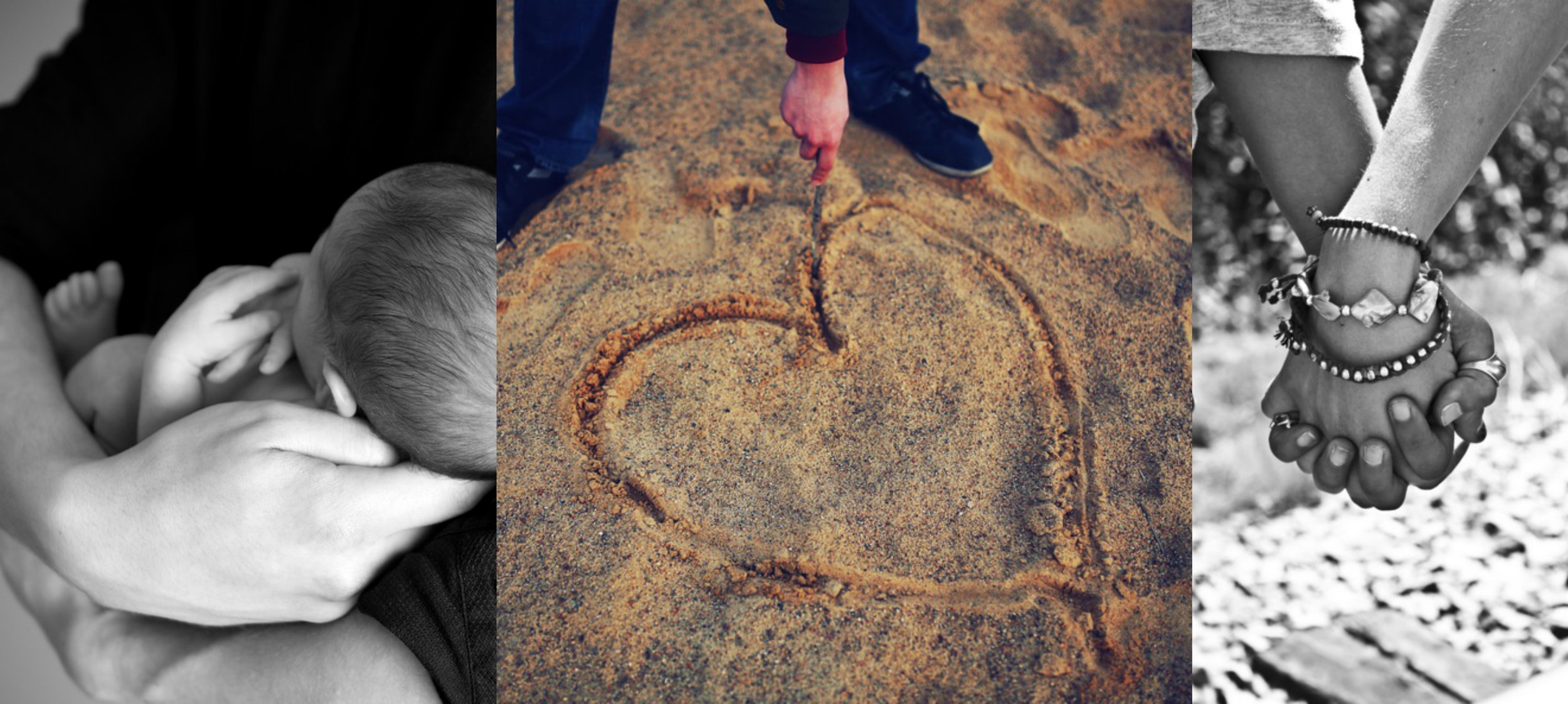 Naming Ceremonies, A heart in the sand and a couple holding hands