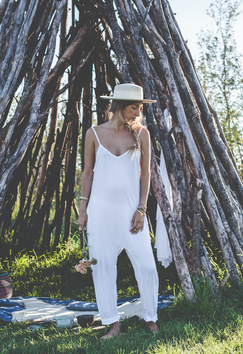 Introducing The Luminous Playsuit, all white, one piece jumpsuit in 100% rayon, light, perfect to wear over your bikini on the way to the beach, post yoga, bed time, anytime!! $173.33