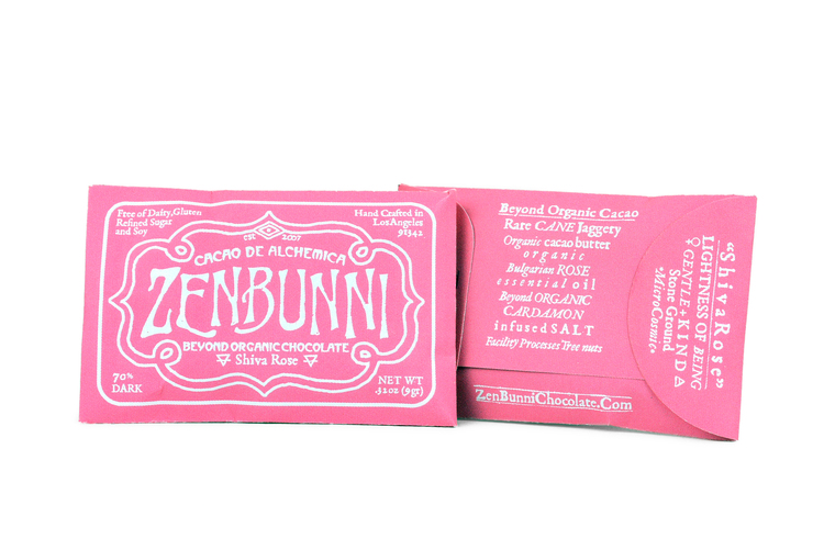 Shiva Rose Chocolate   $ 4.00 each     Zen & Bunni's collaboration creation with our good friend Shiva Rose of The Local Rose. We've combined our biodynamic chocolate with Organic Bulgarian Rose Oil to create not only a delicious bar, but a powerful tonic treat. Rose oil has been used medicinally for thousands of years. Uplifting ones spirit as well as promoting life with its antidepressant and aphrodisiac properties. One more way ZenBunni Chocolate and The Local Rose are spreading our love