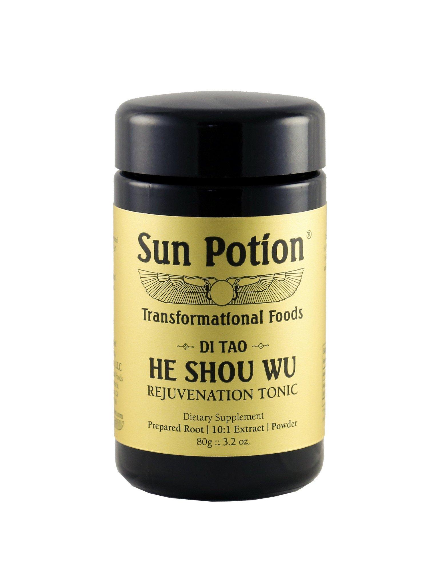 He Shou Wu (Wildcrafted) - 80g Jar   $55.00            Traditional Taoist Herb & Jing Tonic    Superior Blood and Longevity Tonic   He Shou Wu has a history of use as a longevity, anti-aging, blood-building, beauty, & rejuvenation food.