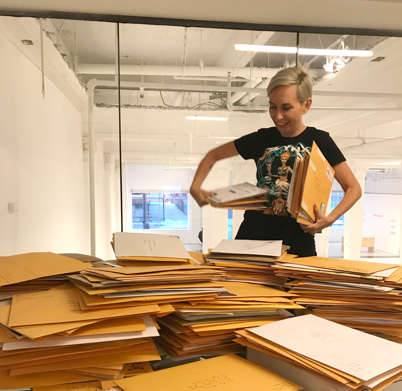 Last day madness of Artist-in-Residence application drop-offs. We received over 600+ from L.A. artists! (And shout-out to the artist who made me this shirt! You know who you are.)