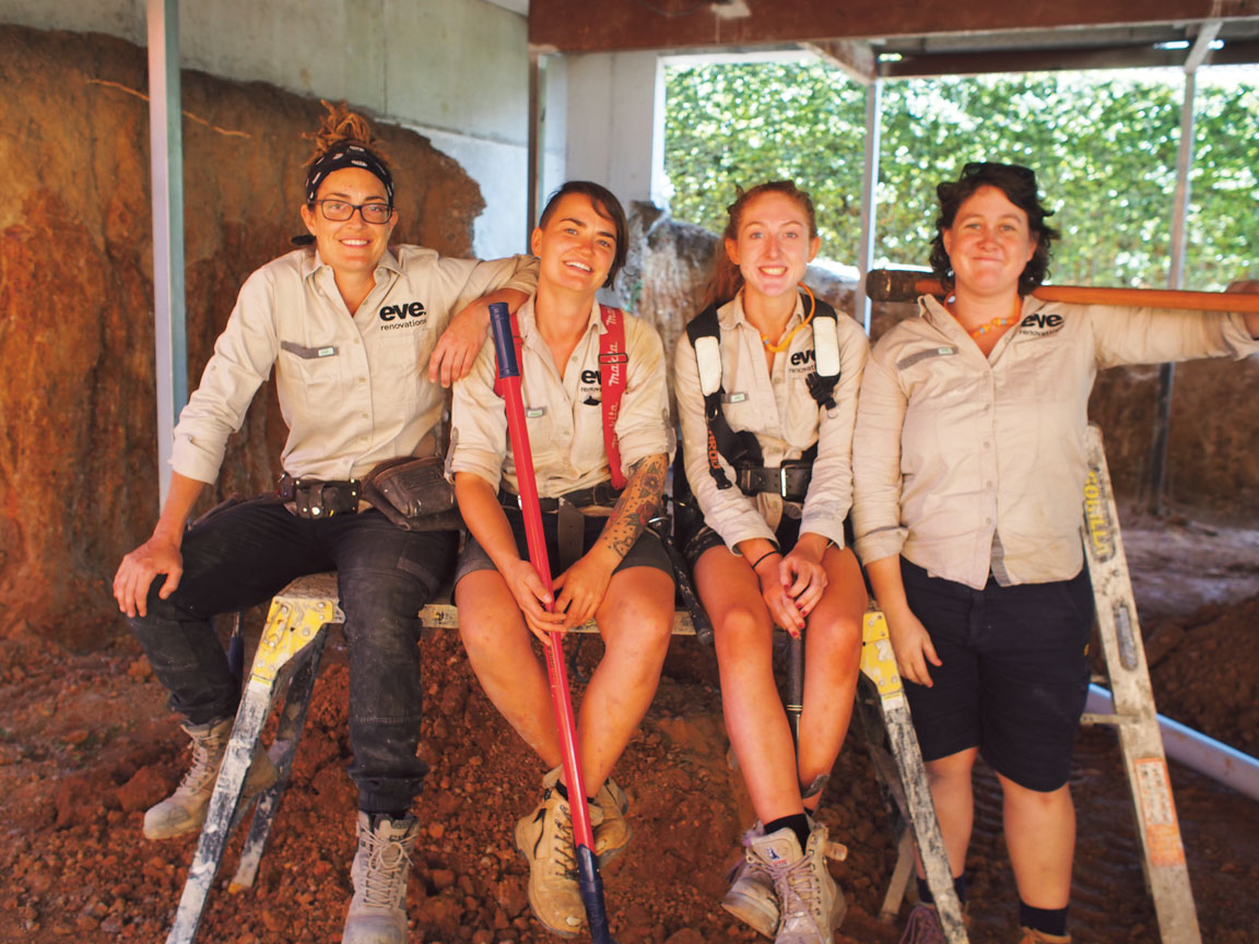 Staff at  eve renovations  from left: Alex Kopakowski (Apprentice-Carpenter), Helen Marsden (Carpenter), Laura Condon (Apprentice Carpenter) and Shea Brudell (Carpenter).
