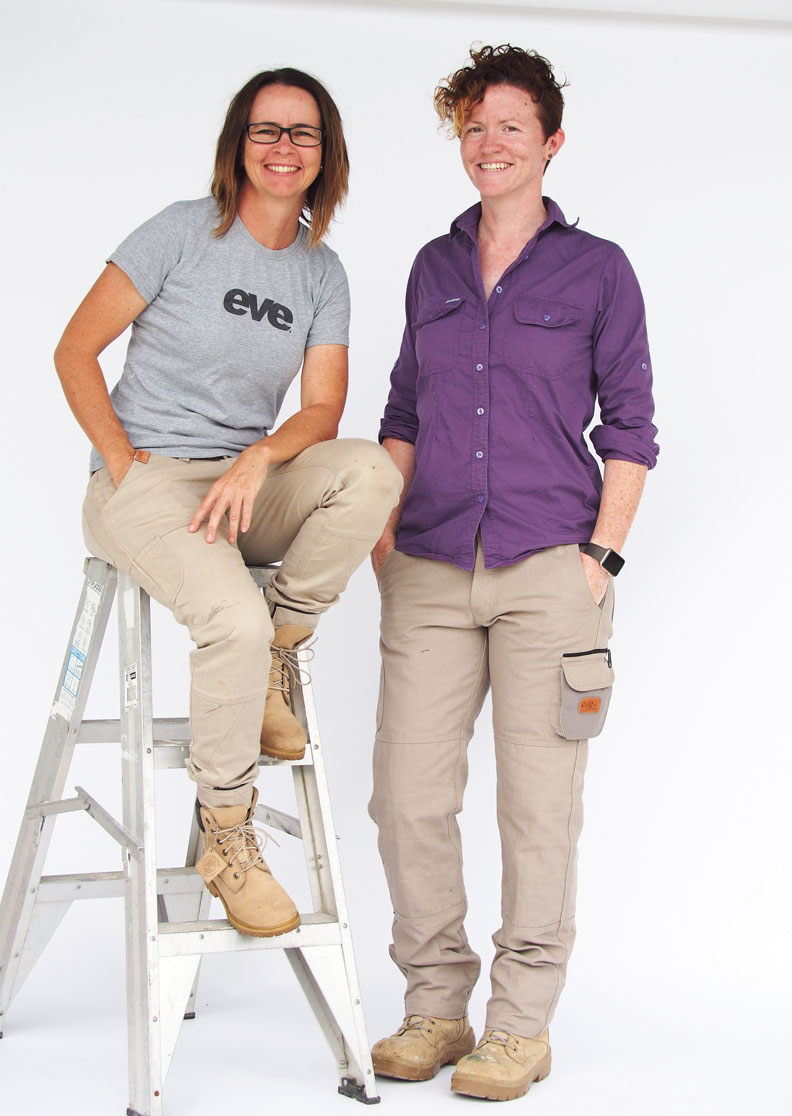 From Left Juanita Mottram and Laura Madden owners of  eve renovations  and  eve workwear.