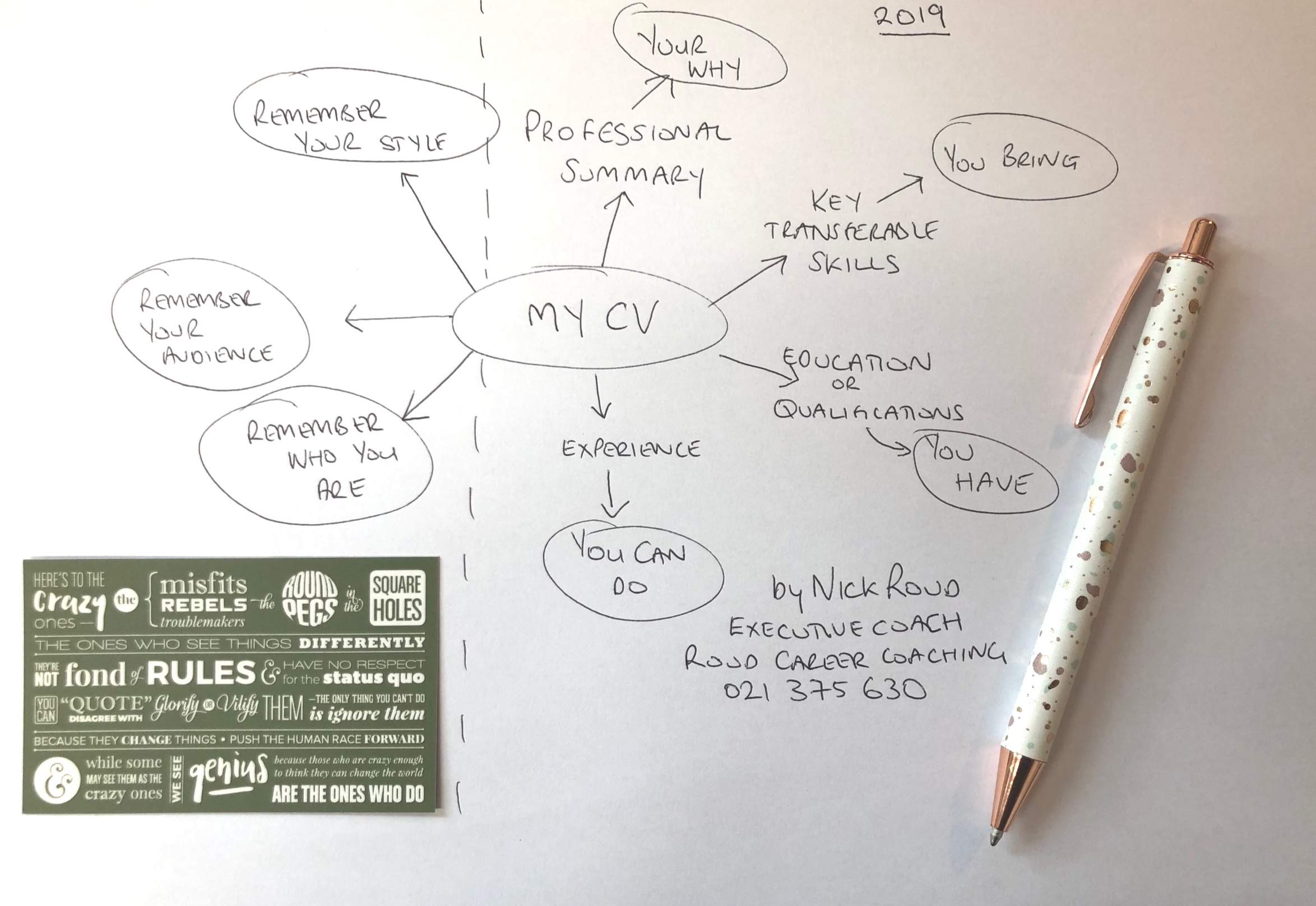 Creating your very own CV/Resume - it doesn't need to be daunting, it should be fun. Get in touch with me if you need help.  Nick Roud Executive Coach. Roud Career Coaching 021375630