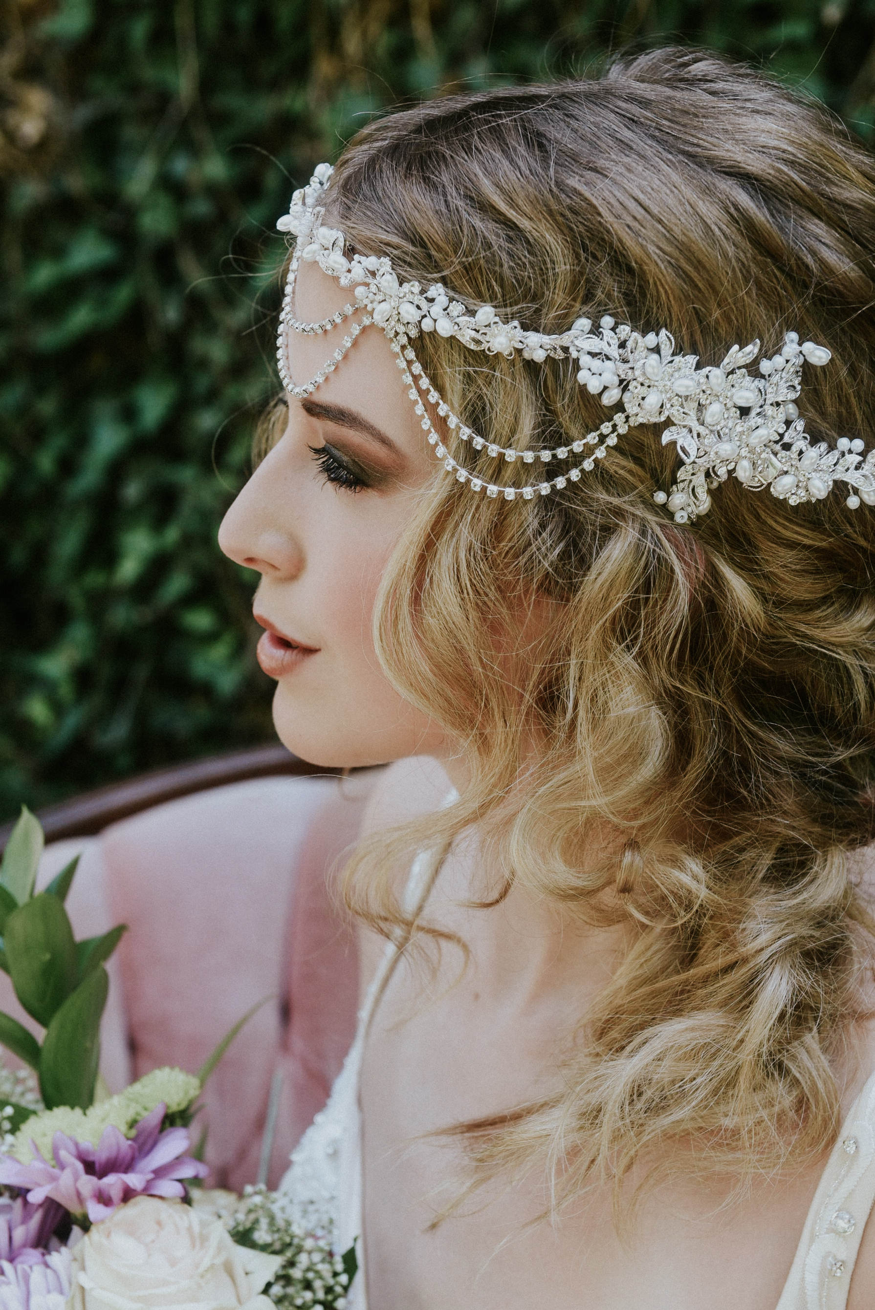 Pearl bridal headpiece braid hairstyle boho bride styled shoot by Wedding Photographer Julie Sawatzky Ontario Canada