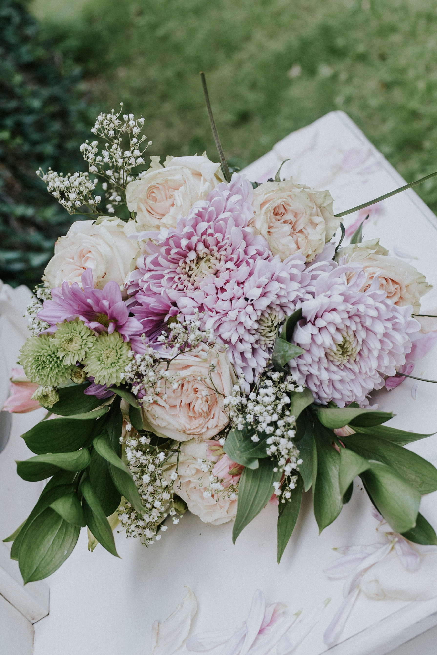 Blush and lilac chrysantems bridal bouquet