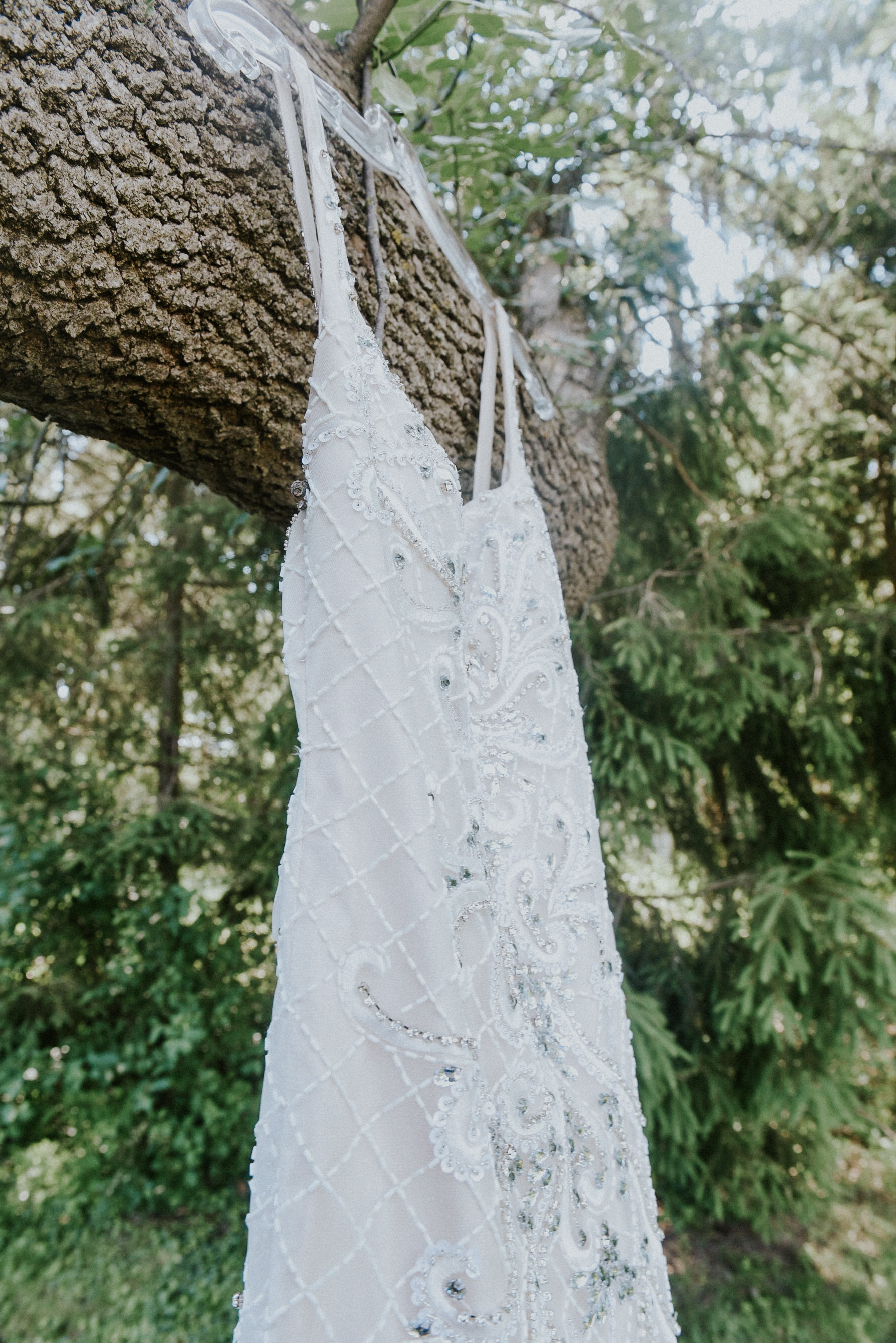 Pearl beaded siren wedding dress