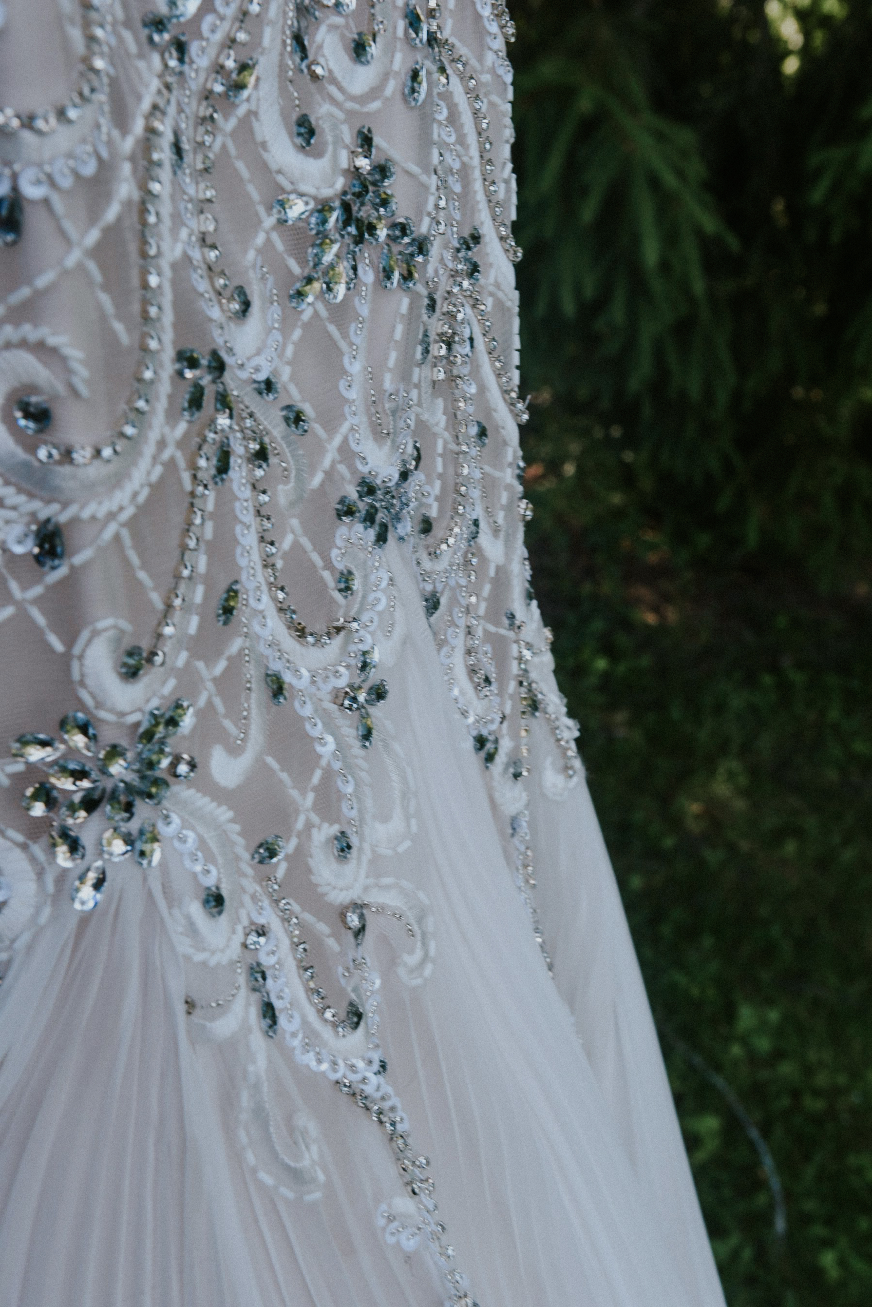 Pearl and stone beaded bridal dress La Creme St Jacobs Ontario Canada