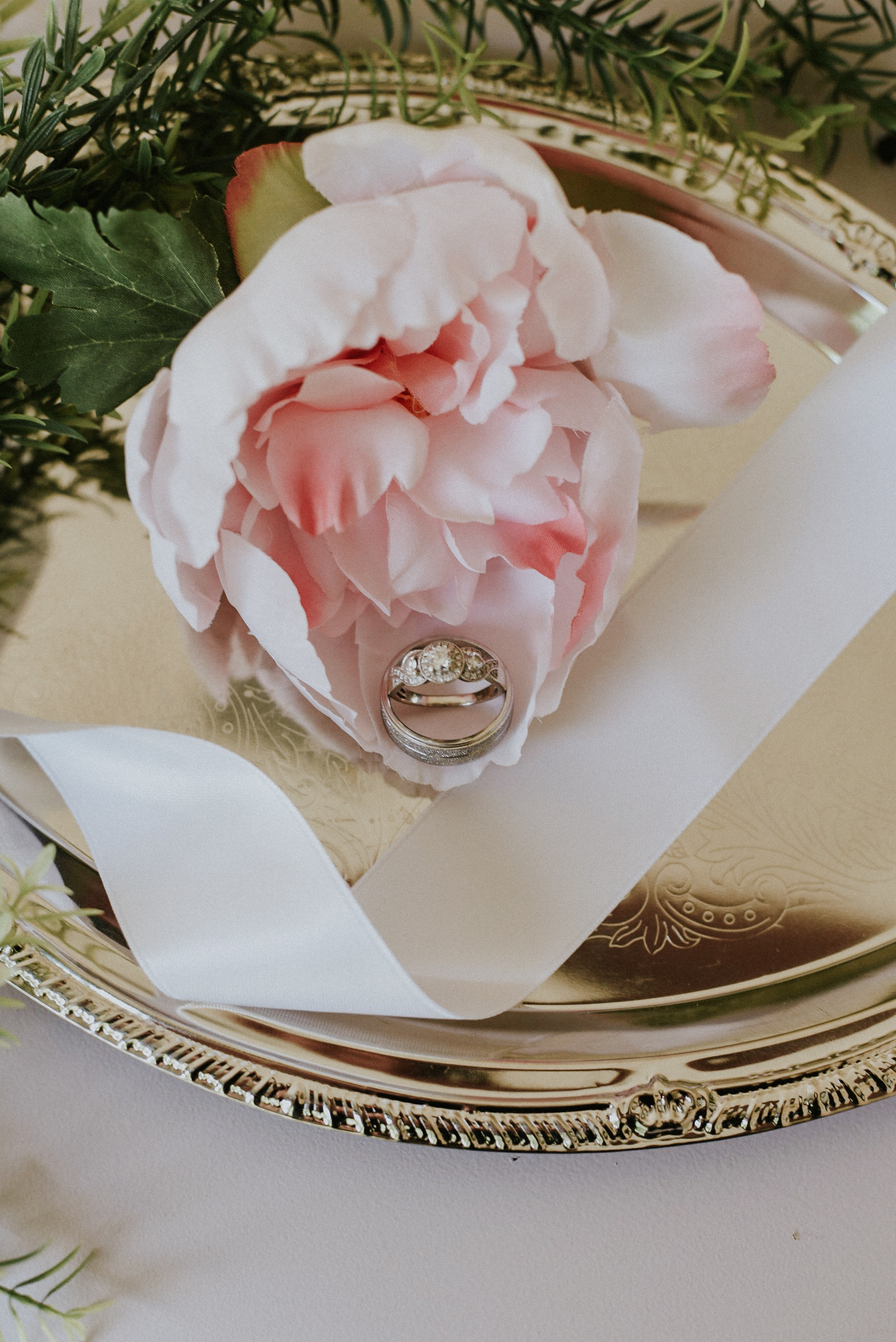 Wedding rings and pink peonies styled shoot Ontario Canada