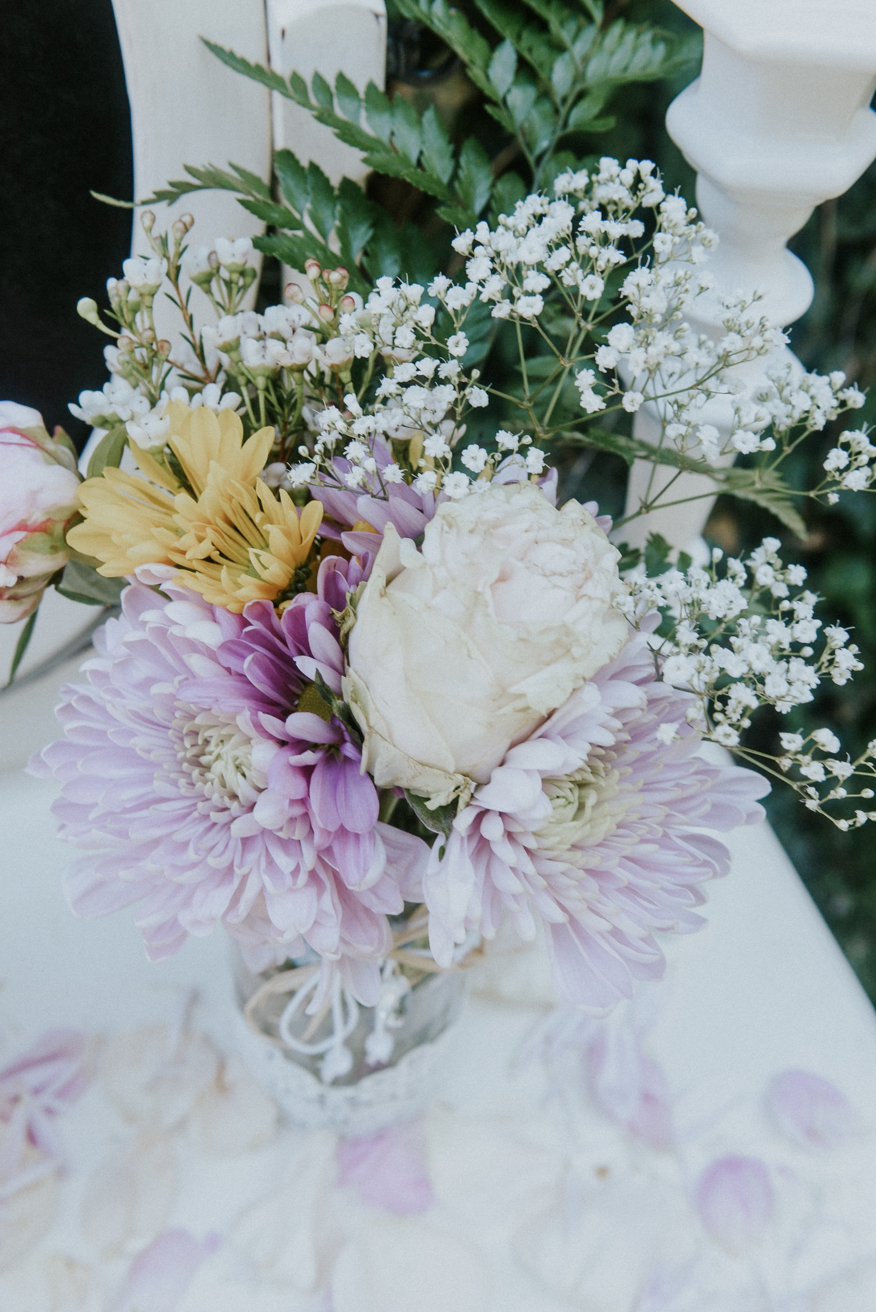 Chrysantems and roses wedding posy Styled Shoot Pearl beaded dress Ontario Canada