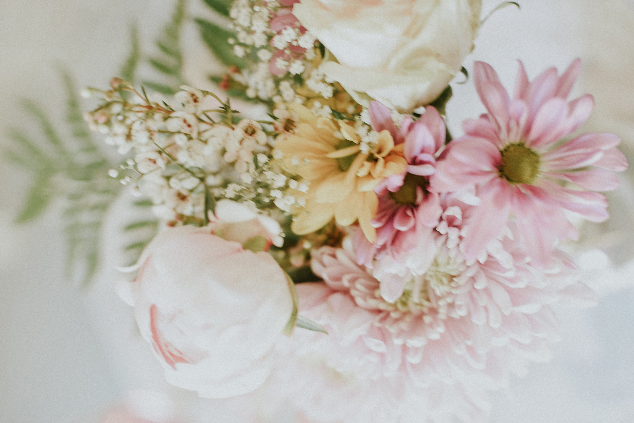 Peach and pink daisies peonies and baby breath vase Styled Shoot Ontario Canada