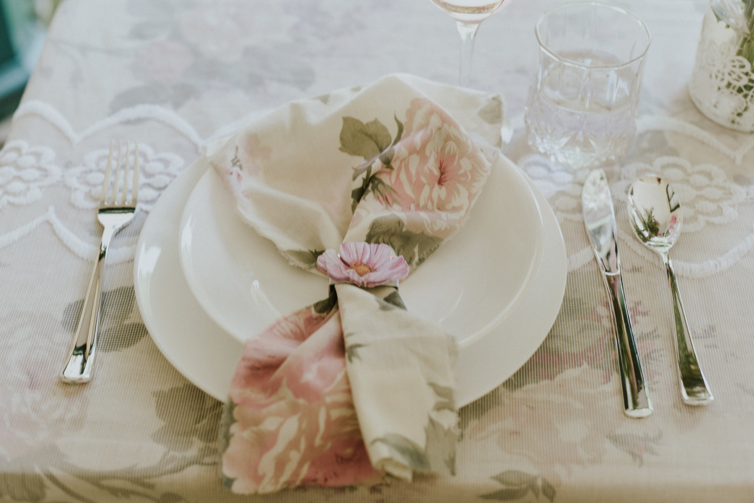 Floral napkin pink peach green and napkin ring Styled Shoot Ontario Canada