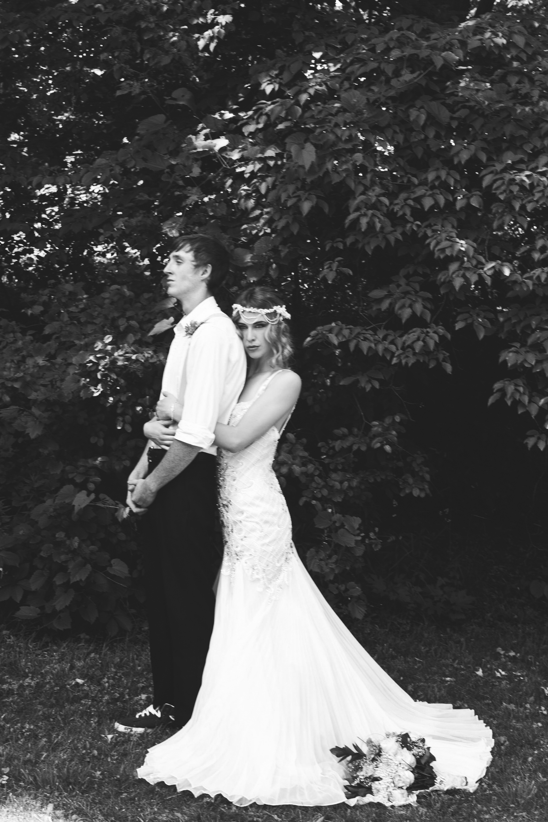 Pearls and ivy styled shoot with beaded wedding dress in Ontario Canada